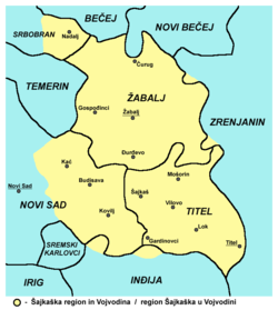 Map of the Žabalj municipality and Šajkaška region (yellow), showing the location of Čurug