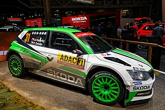 Škoda Fabia R5 - A Fabia R5 in the colours of Škoda's factory team on display at the 2018 Paris Motor Show.
