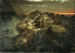 Русский: Всемирный потоп. 1869. Эскиз. Холст, ...