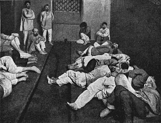 Recreational drug use - This 1914 photo shows intoxicated men at a sobering-up room.
