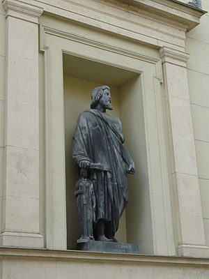Smilis - Statue of Smilis on the facade of the New Hermitage Building in St Petersburg, Russia
