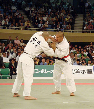 Clinch fighting - Grip fighting in the clinch and especially throwing is the primary focus in Judo.