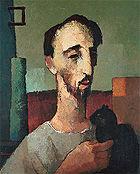 Ado Malagoli: O gato preto, óleo sobre tela, 1954