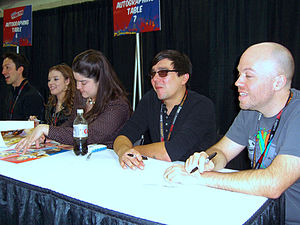Fairy Tail - The Funimation staff and voice cast of the anime at the 2011 New York Comic Con, from left to right: Todd Haberkorn (Natsu), Cherami Leigh (Lucy), Colleen Clinkenbeard (Erza), Newton Pittman (Gray) and Tyler Walker (ADR director).