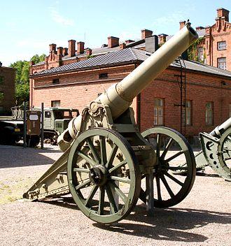 6-inch siege gun M1877 - Russian 6-inch M1877 gun, displayed in Hämeenlinna The Artillery Museum of Finland.