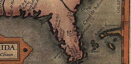 A section of a map from the 1584 edition of Abraham Ortelius' Theatrum Orbis Terrarum, Additamentum III showing the name C. de Canareal 1584-Canavaral.jpg