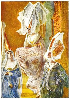 Hennin - Image: 15th century varieties of the hennin head dress