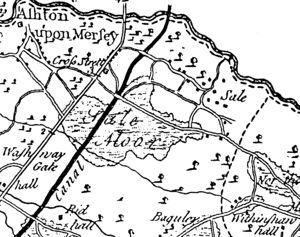 Sale, Greater Manchester - 1777 map of area around Sale showing the townships of Sale and Ashton upon Mersey and the separate village of Cross Street (Baguley and Wythenshawe Hall are in the southeast)