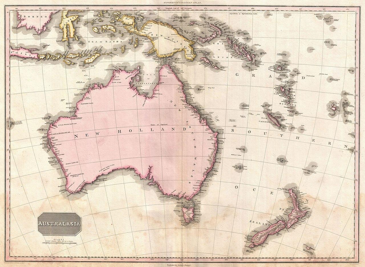 Map Of Australia New Zealand And Fiji.File 1818 Pinkerton Map Of Australia And New Zealand Geographicus