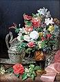 1840 Waldmüller Blumenstrauß mit Silbergefäßen und antiker Vase anagoria.JPG