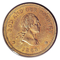 Head of George Washington on a copper coin