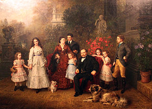 Bethel Henry Strousberg - Strousberg and his family, painting by Ludwig Knaus, 1870