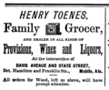 1875 Toenes grocer advert Mobile Alabama.png