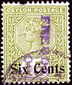 1899ca Six Cents Ceylon used Yv135 Mi128 SG250.jpg