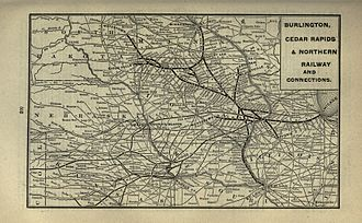 Burlington, Cedar Rapids and Northern Railway - A 1901 route map.