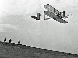 Wright Glider - The 1911 glider over the Kill Devil Hills. Library of Congress Wright Collection.