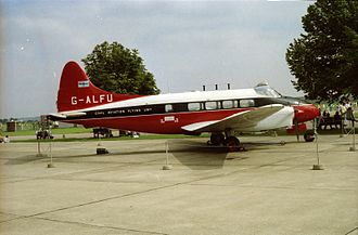 Civil Aviation Authority (United Kingdom) - Preserved de Havilland Dove aircraft G-ALFU of CAA at Duxford Airfield, EGSU