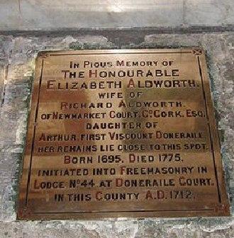 Elizabeth Aldworth - 1775 burial in Saint Finbarre's Cathedral