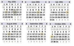 May - Oct 2006 Calendar