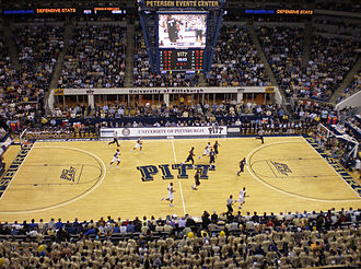 Petersen Events Center - The early minutes of a game against number one ranked UConn in 2009. A portion of the Oakland Zoo can be seen at the bottom. Pitt won the nationally televised game 70–60.