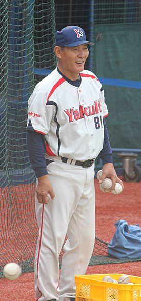 20111015 Takao Ise,coach of the Tokyo Yakult Swallows, at Yokohama Stadium.jpg