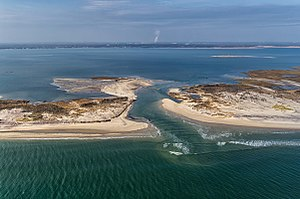 Otis Pike Fire Island High Dune Wilderness - Aerial view of the breach at Old Inlet, looking from the Atlantic Ocean toward Great South Bay, on November 10, 2012.