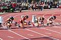 2013 IPC Athletics World Championships - 26072013 - Styliani Smaragdi of Greece, Megan Absten of USA, Anrune Liebenberg of South-Africa and Sheila Finder of Brasil during the Women's 100m - T46 first semifinal 1.jpg