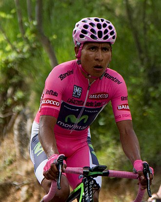 Nairo Quintana - Quintana in the pink jersey at the 2014 Giro d'Italia