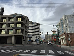 Nevada State Route 430 - View north along Virginia Street in downtown Reno