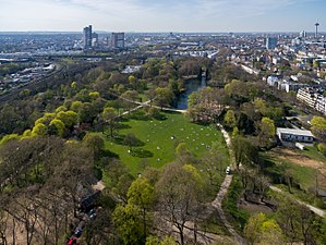 Volksgarten, Cologne - Volksgarten Köln: aerial view from the south-east