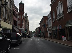 2016-05-19 10 12 00 View east along West Beverly Street (Virginia State Route 254) between Lewis Street and Central Avenue in Staunton, Virginia.jpg