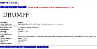 Donald Trump (Last Week Tonight) - Image: 2016 February 26 trademark request Drumpf at United States Patent and Trademark Office website