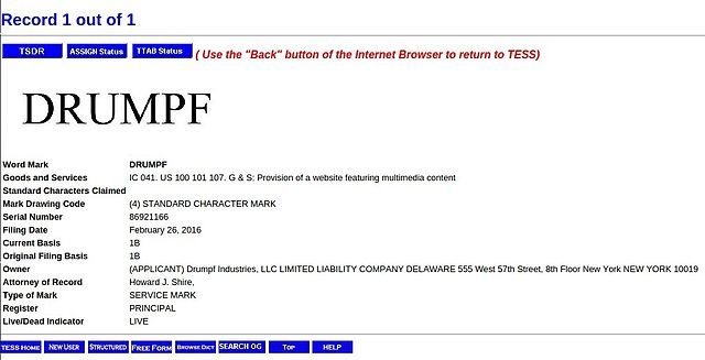 File 2016 february 26 trademark request drumpf at united states patent and trademark office - United states patent and trademark office ...