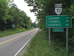 Virginia State Route 71 - View north along SR 71 at US 58 Alt in Dickenson