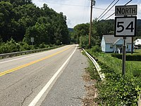 2017-07-22 14 50 18 View north along West Virginia State Route 54 at Moran Avenue in Mullens, Wyoming County, West Virginia.jpg