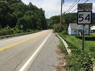 West Virginia Route 54 - View north along WV 54 in Mullens