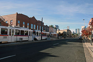 27th & Welton station - The light rail station at 27th and Welton streets in Denver. Welton Street is the street in the foreground, and the view on the right is towards downtown.