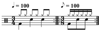 Time signature - Image: 3 4 equals 3 8 drum pattern