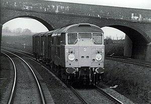 British Rail Class 31 - Class 31/1 on Sharnbrook bank with a short van train in April 1985
