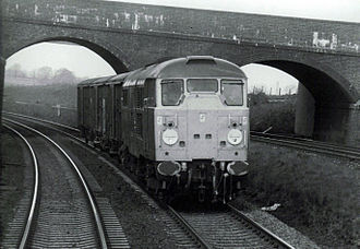 British Rail Class 31 - Class 31/1 on Sharnbrook bank with a short van train in April 1985