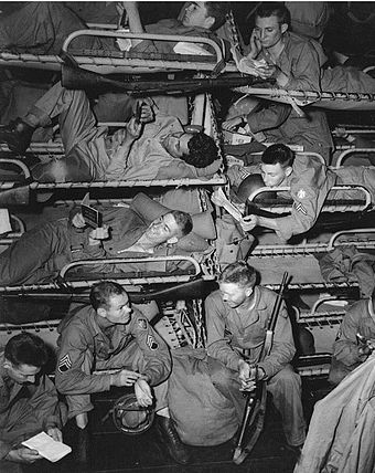 Troops of the 45th Infantry Division in a transport bound for Sicily in June 1943. - 45th Infantry Division (United States)