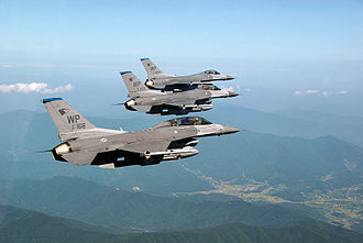 8th Fighter Wing - 35th Fighter Squadron F-16DG Block 40F 89-2168 and CGs 89-2150 and 88-0504 in formation.