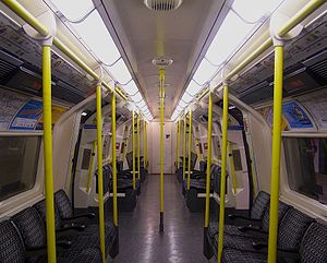 London Underground 1995 Stock - The original unrefurbished interior of the 1995 Stock