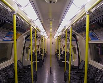 London Underground 1995 Stock - The original unrefurbished interior of the 1995 Stock