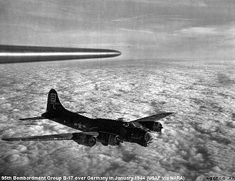 "95th Air Base Wing - Douglas-Long Beach B-17G (42-37894) ""Pegasus IV"" showing the group's ""Square B"" tail marking"