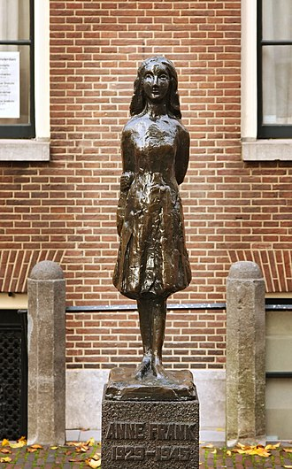 History of the Jews in Amsterdam - Statue of Anne Frank, by Mari Andriessen, outside the Westerkerk in Amsterdam.