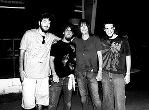 Pat Travers - Travers (3rd from left), with the group Azmyth