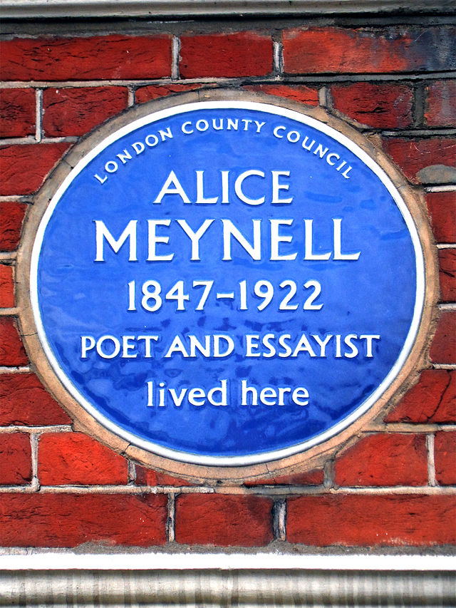 Alice Meynell blue plaque - Alice Meynell 1847–1922 poet and essayist lived here