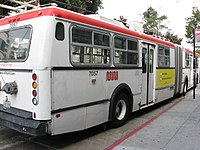 A New Flyer trolley articulated bus on the 49-Van Ness/Mission line.