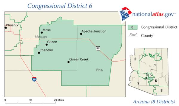 Map Of Arizona Congressional Districts.Arizona S 6th Congressional District Wikiwand